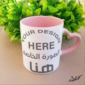 Customized heart rose hand mug مج ايد قلب شكل خاص