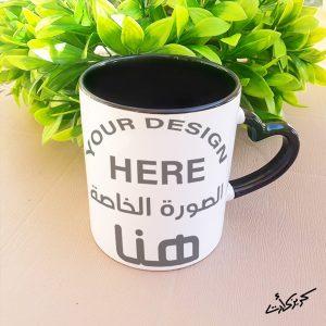 Customized heart black hand mug مج ايد قلب شكل خاص