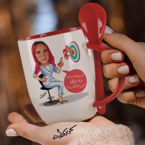 Mug with spoon caricature كاريكاتير تارجيت مين