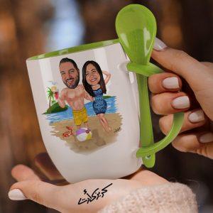 Mug with spoon caricature كاريكاتير كابلز بحر