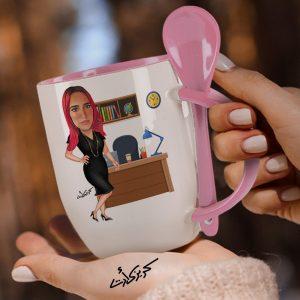 Mug with spoon caricature كاريكاتير موظفة مكتب