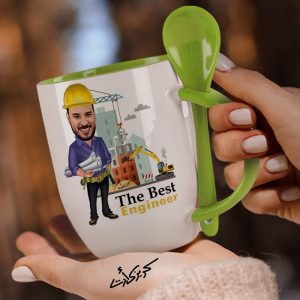 Mug with spoon caricature كاريكاتير مهندس