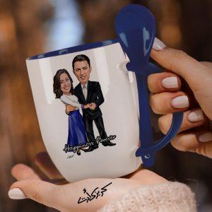 Mug with spoon caricature كاريكاتير كابلز خطوبة