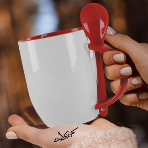Customized Red mug with spoon