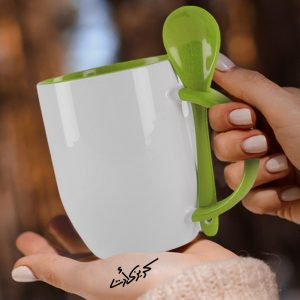Customized Green mug with spoon