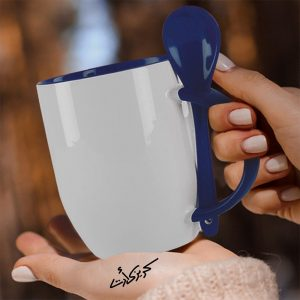 Customized Blue mug with spoon