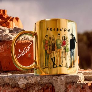 Golden glossy mug friends مج دهبى