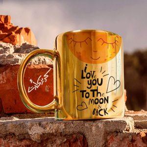 Golden glossy mug the moon مج دهبى