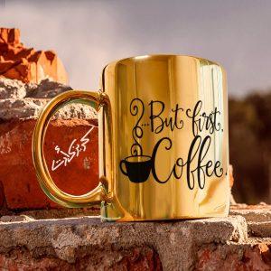 Golden glossy mug coffee مج دهبى