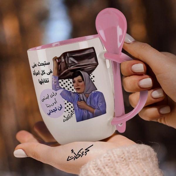 Rose mug with spoon ستبحث عنى