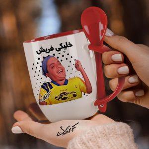 Red mug with spoon خليكى فريش
